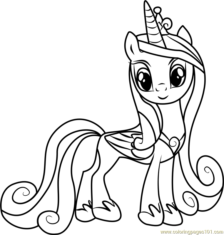 Princess Cadance Coloring Page Free My Little Pony