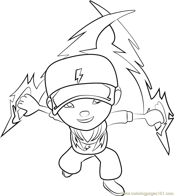 Boboiboy Thunderstorm Coloring Page Free Pages