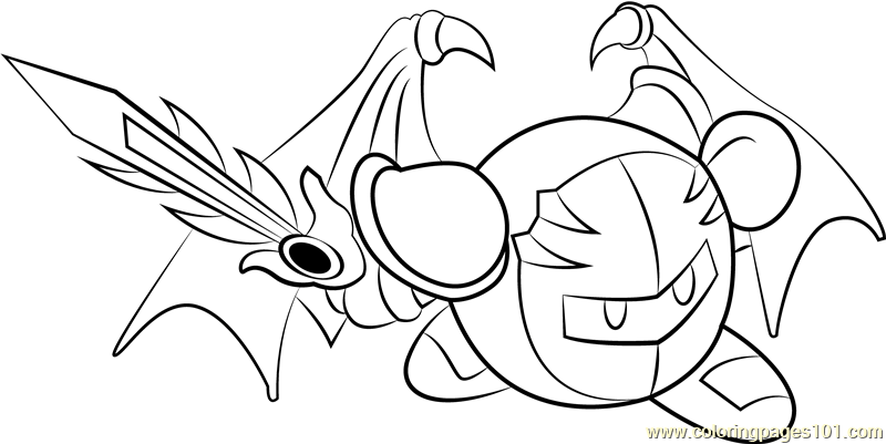 Meta Knight Coloring Page Free Kirby Coloring Pages