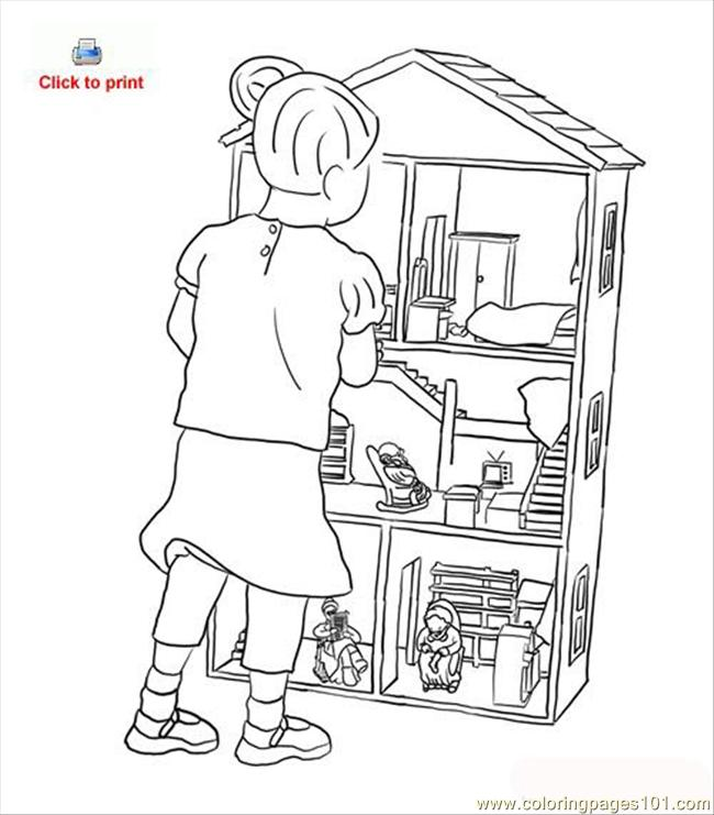 Doll House Coloring Page Coloring Page Free Houses Coloring Pages Coloringpages101 Com