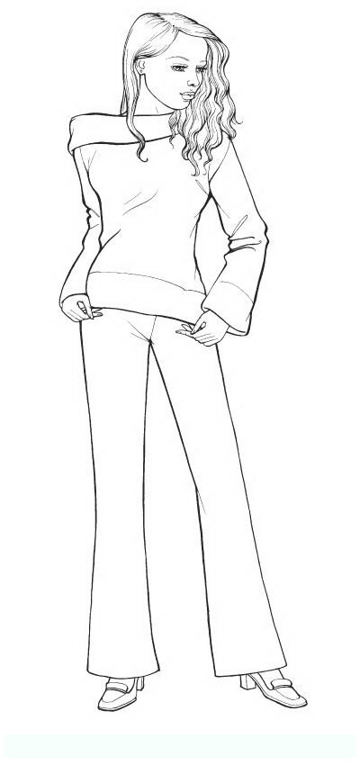 Model Fashion Design Coloring Pages