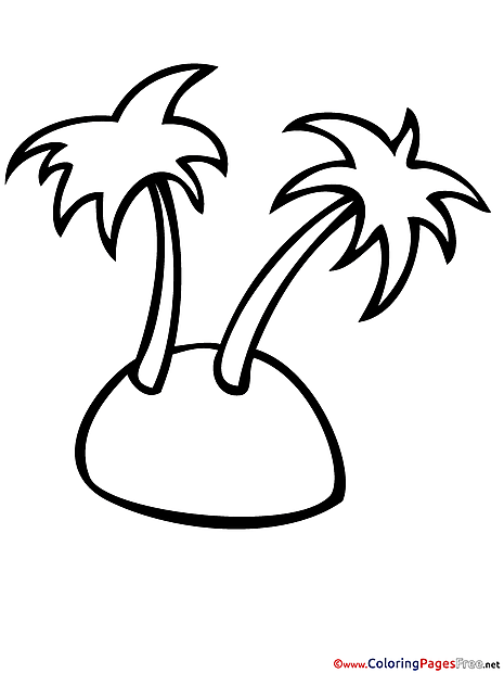 Island Palm Trees Children Summer Colouring Page