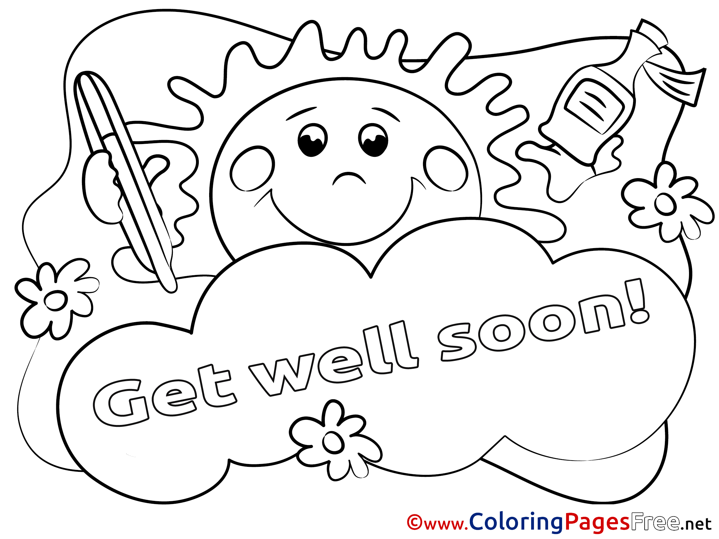 Sun for Kids Get well soon Colouring Page