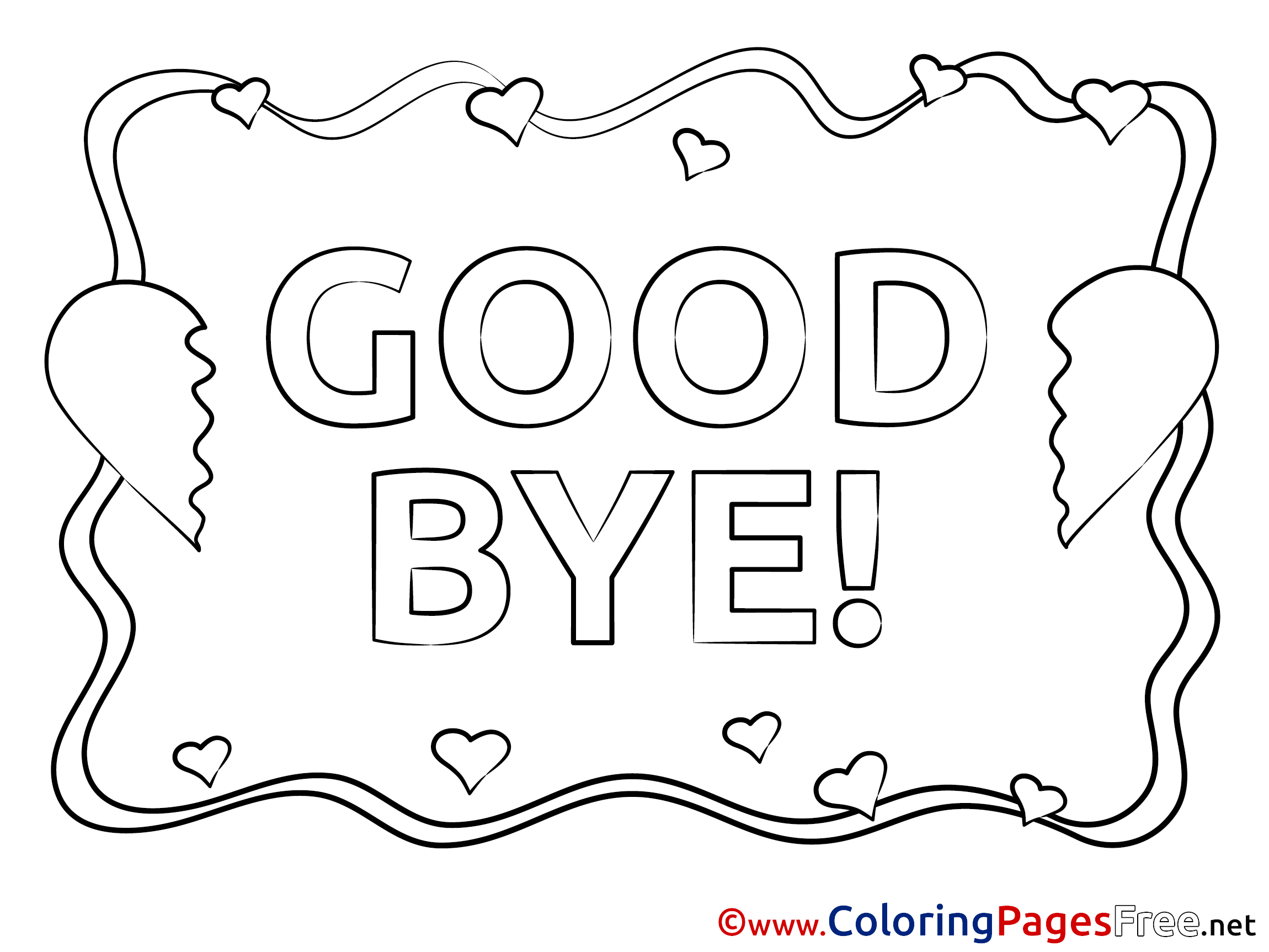 School Good Bye Coloring Page Sketch Coloring Page
