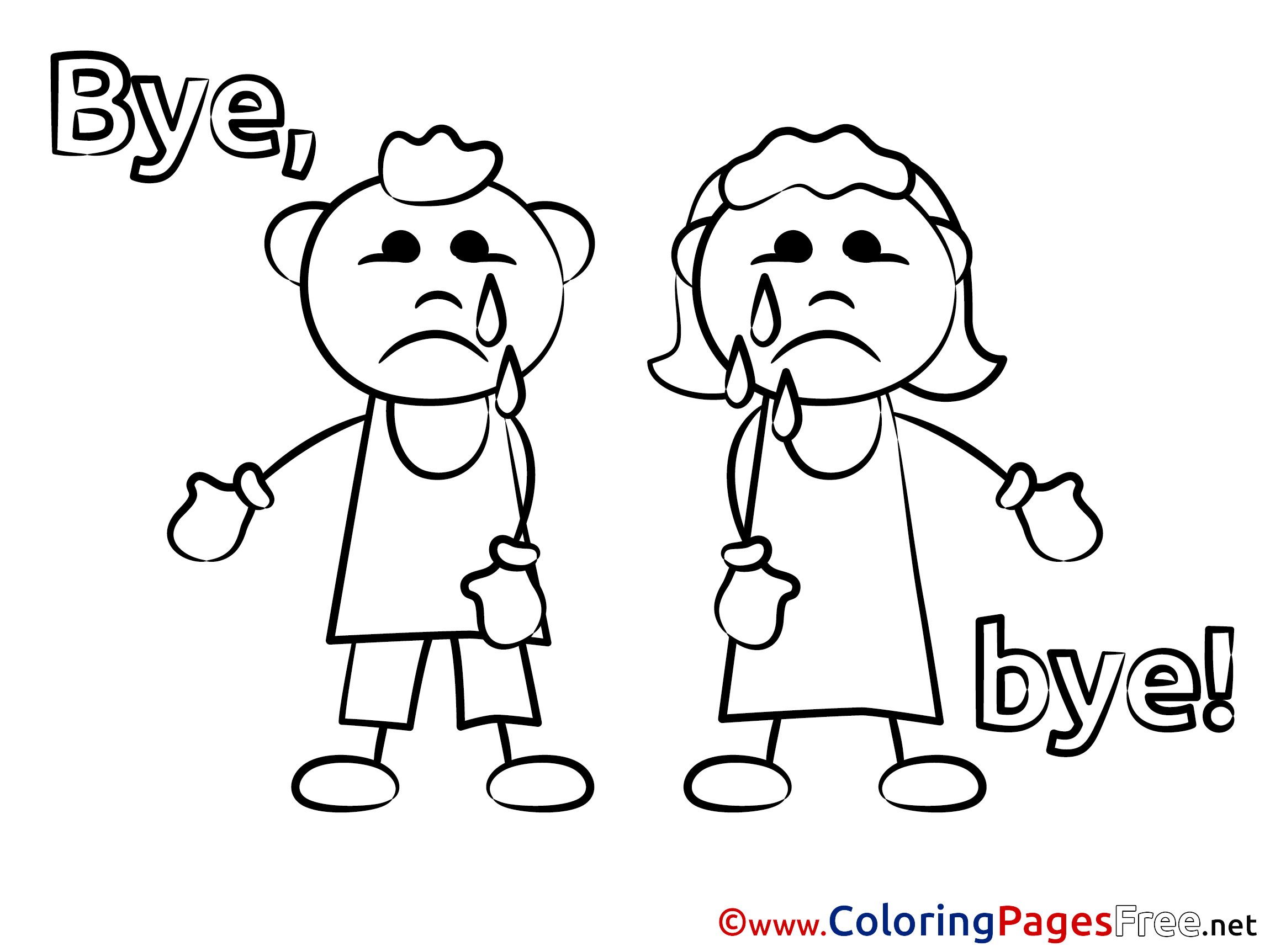 Kids free Colouring Page Good bye