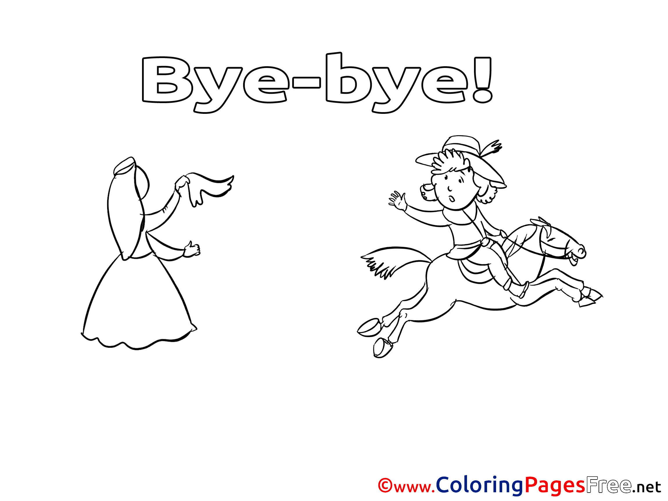 Goodbye Coloring Cards Coloring Pages