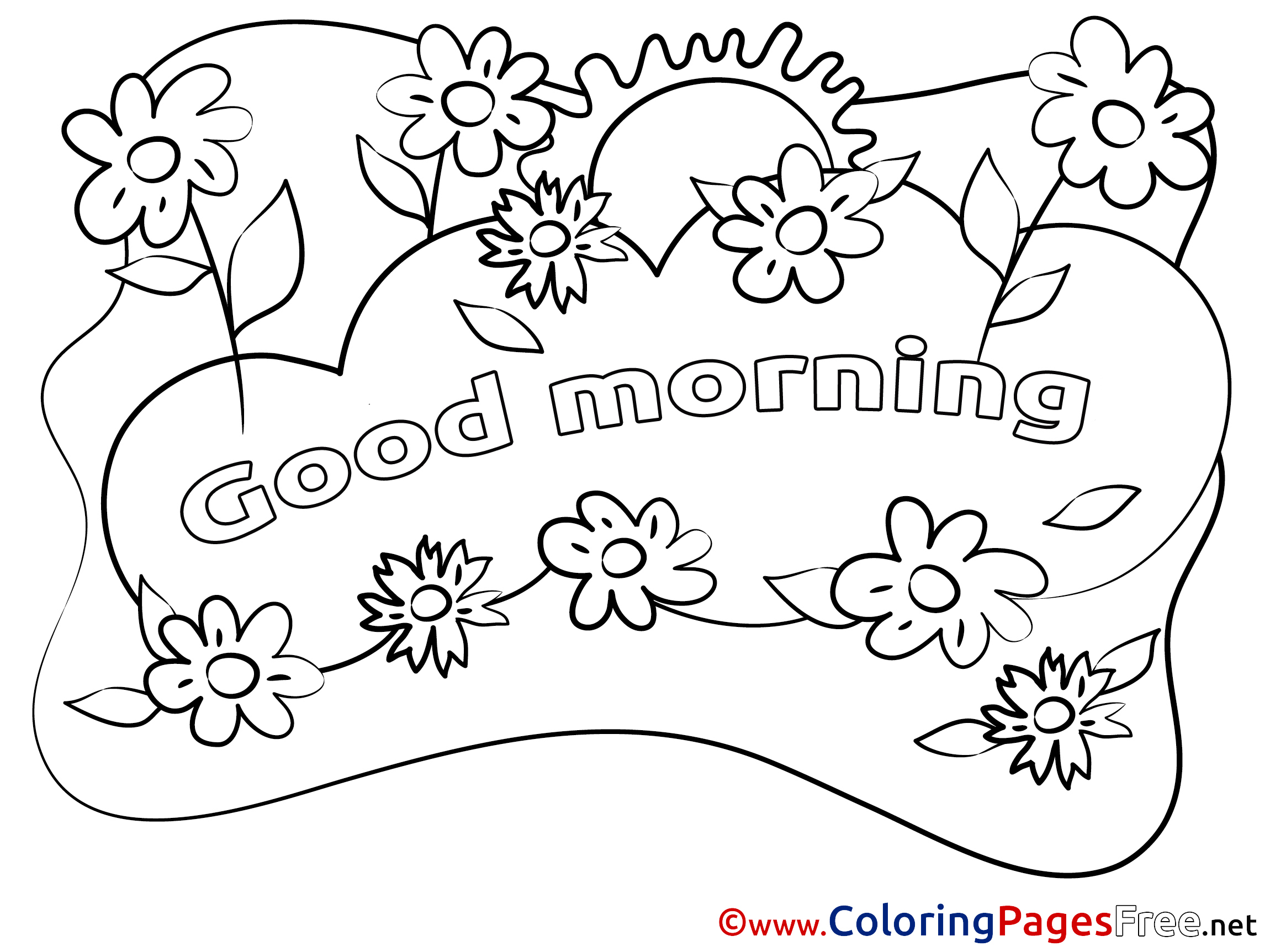 Good Morning Coloring Pages Sketch Coloring Page