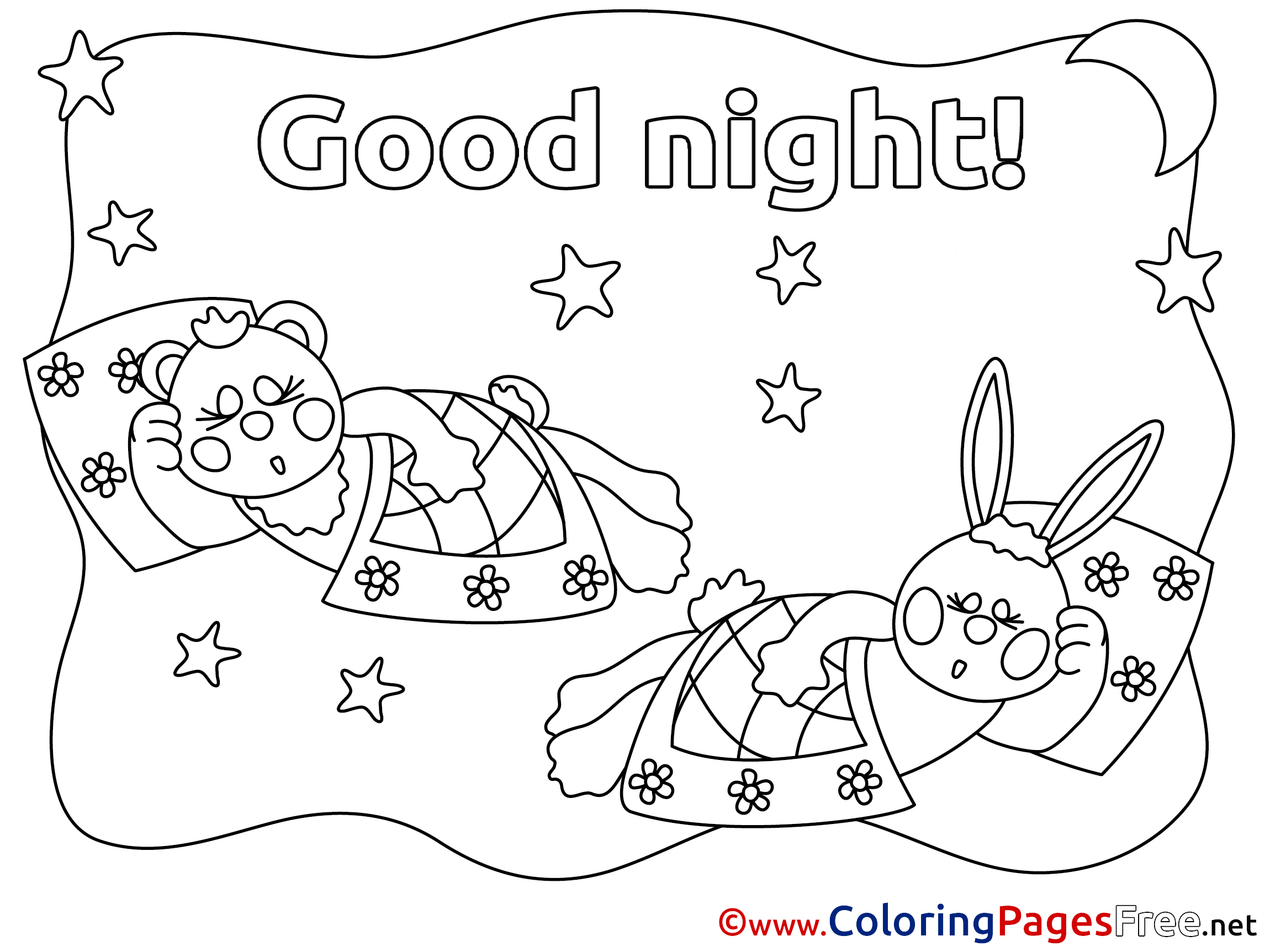 80 Good Night Kids Coloring Pages