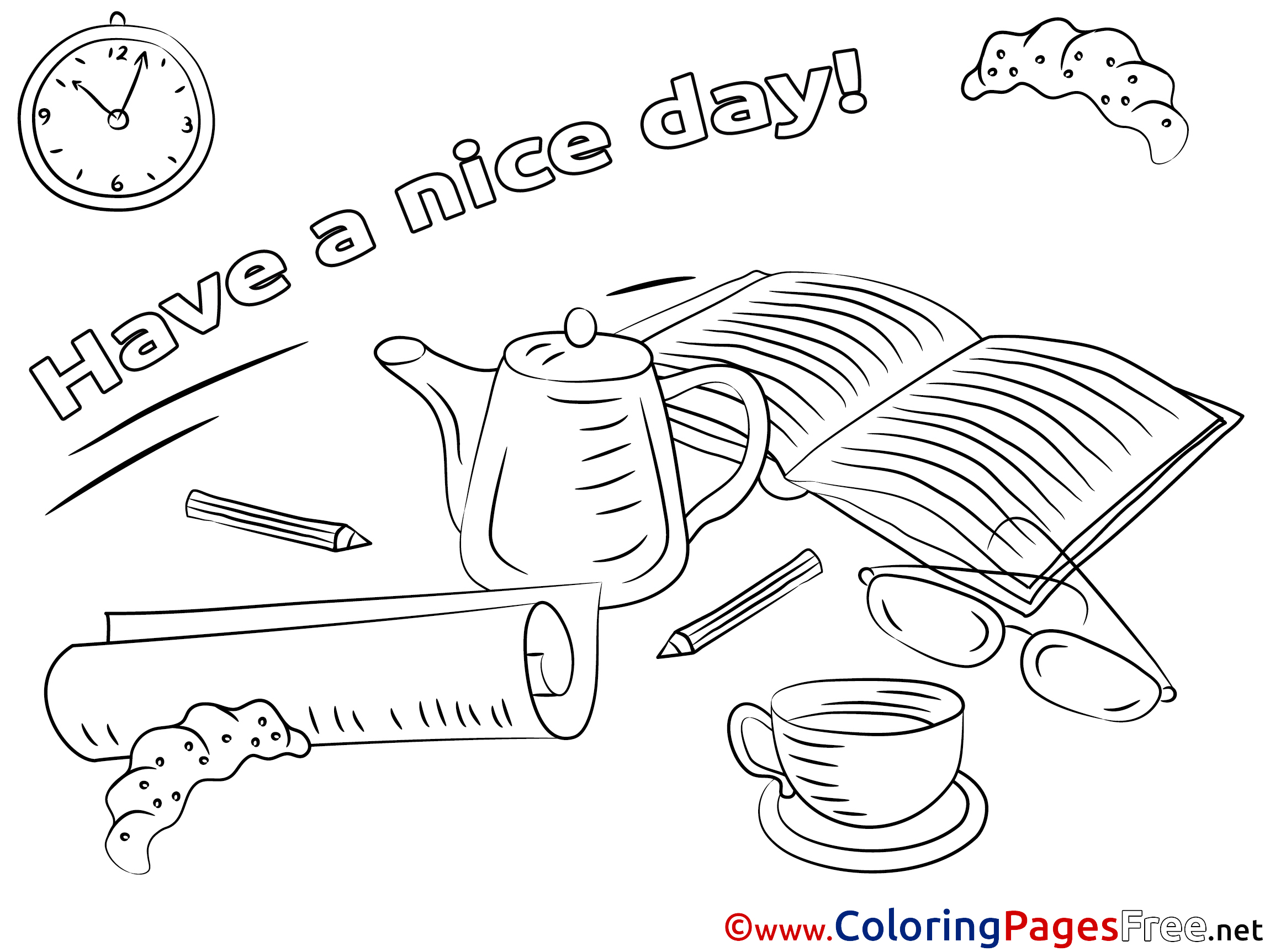 Book Coloring Pages Have a nice Day for free