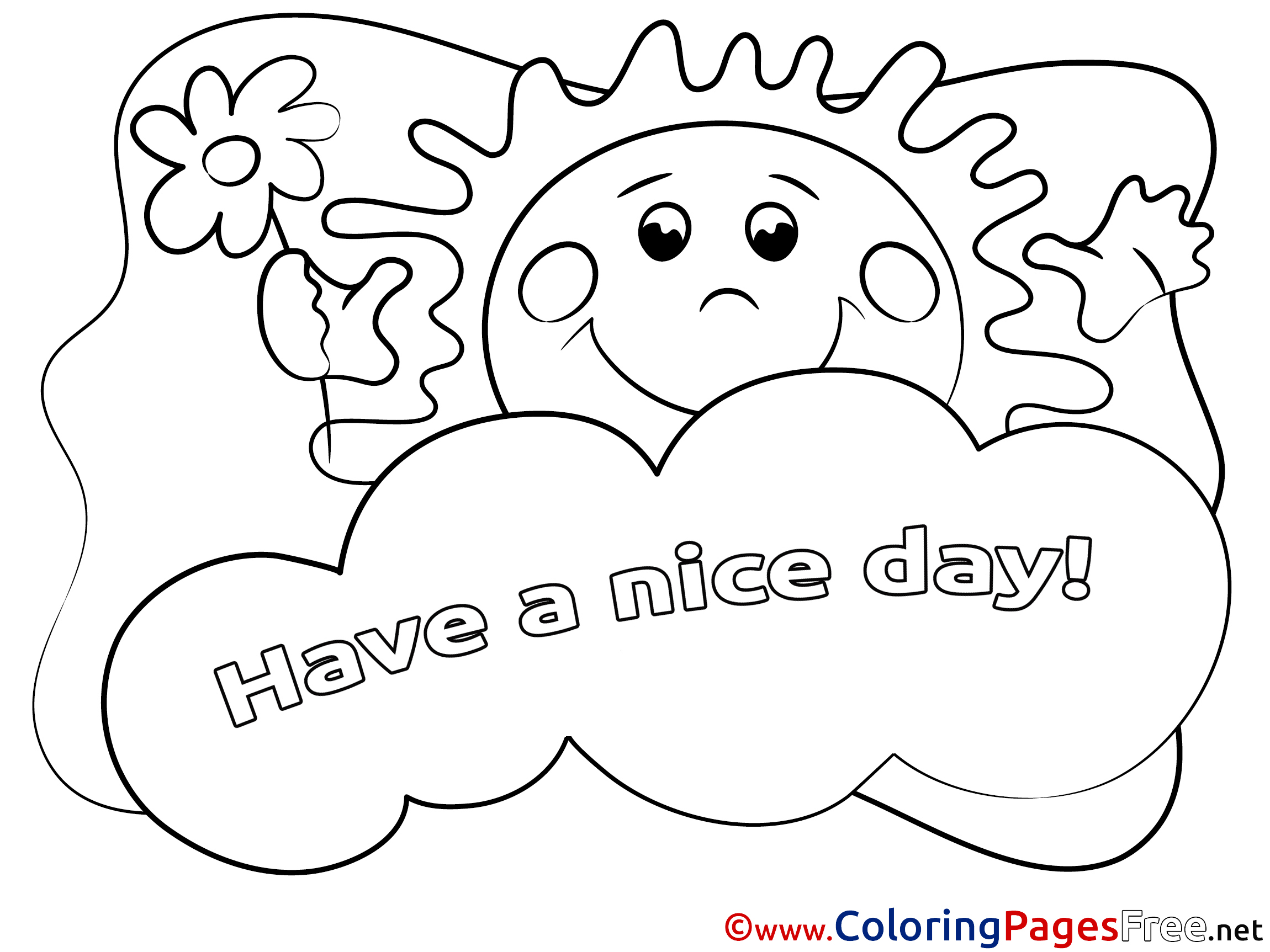 Sun Coloring Sheets Have A Nice Day Free