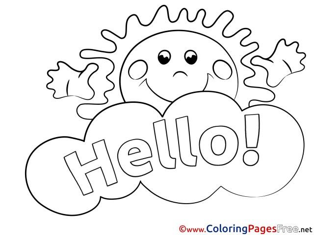 Sun Colouring Sheet download Hello
