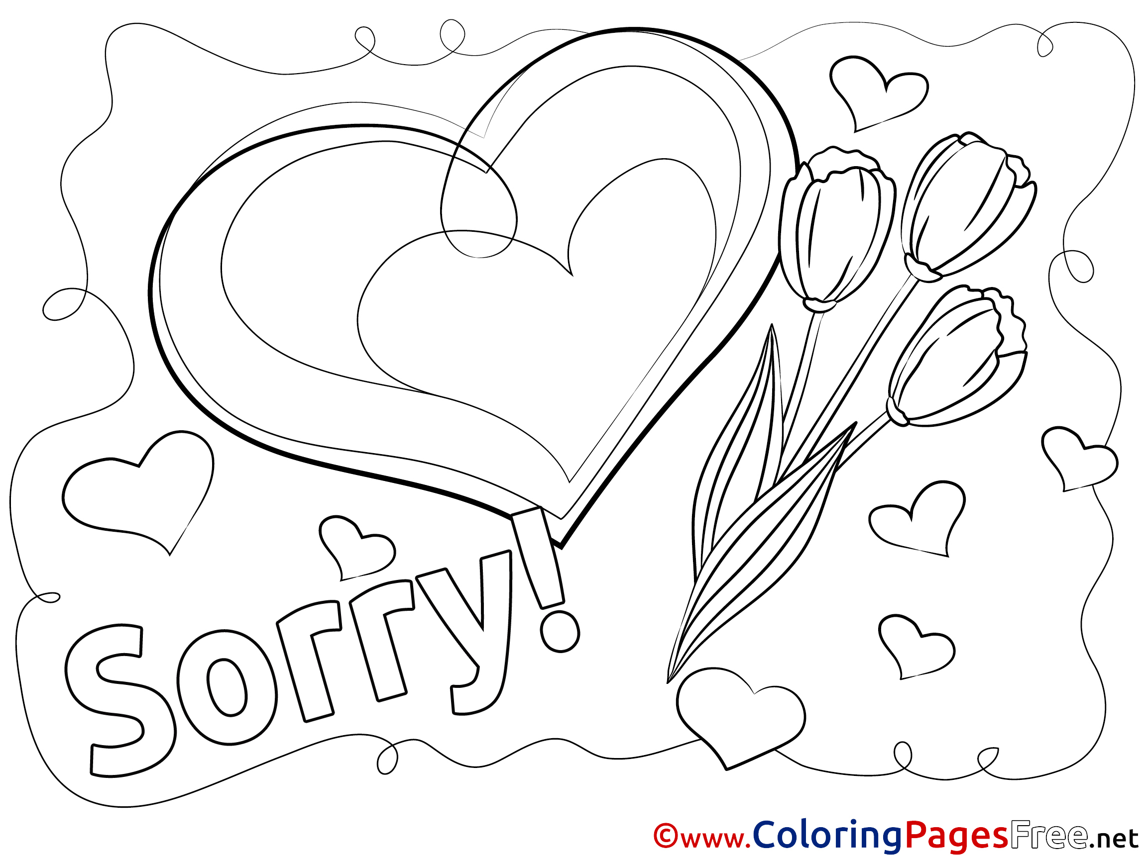 Heart Sorry free Coloring Pages