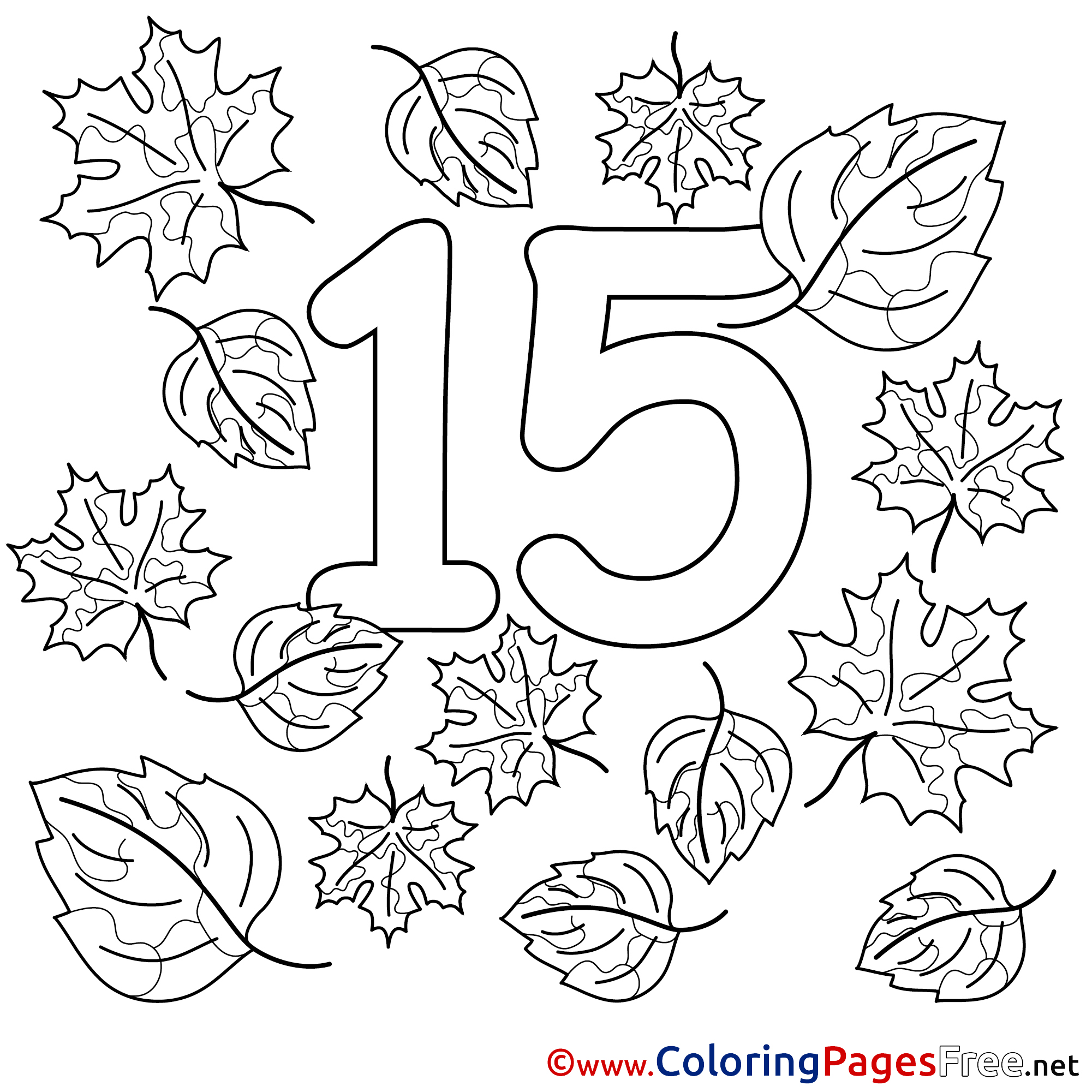 15 Leaves Numbers Colouring Sheet Free