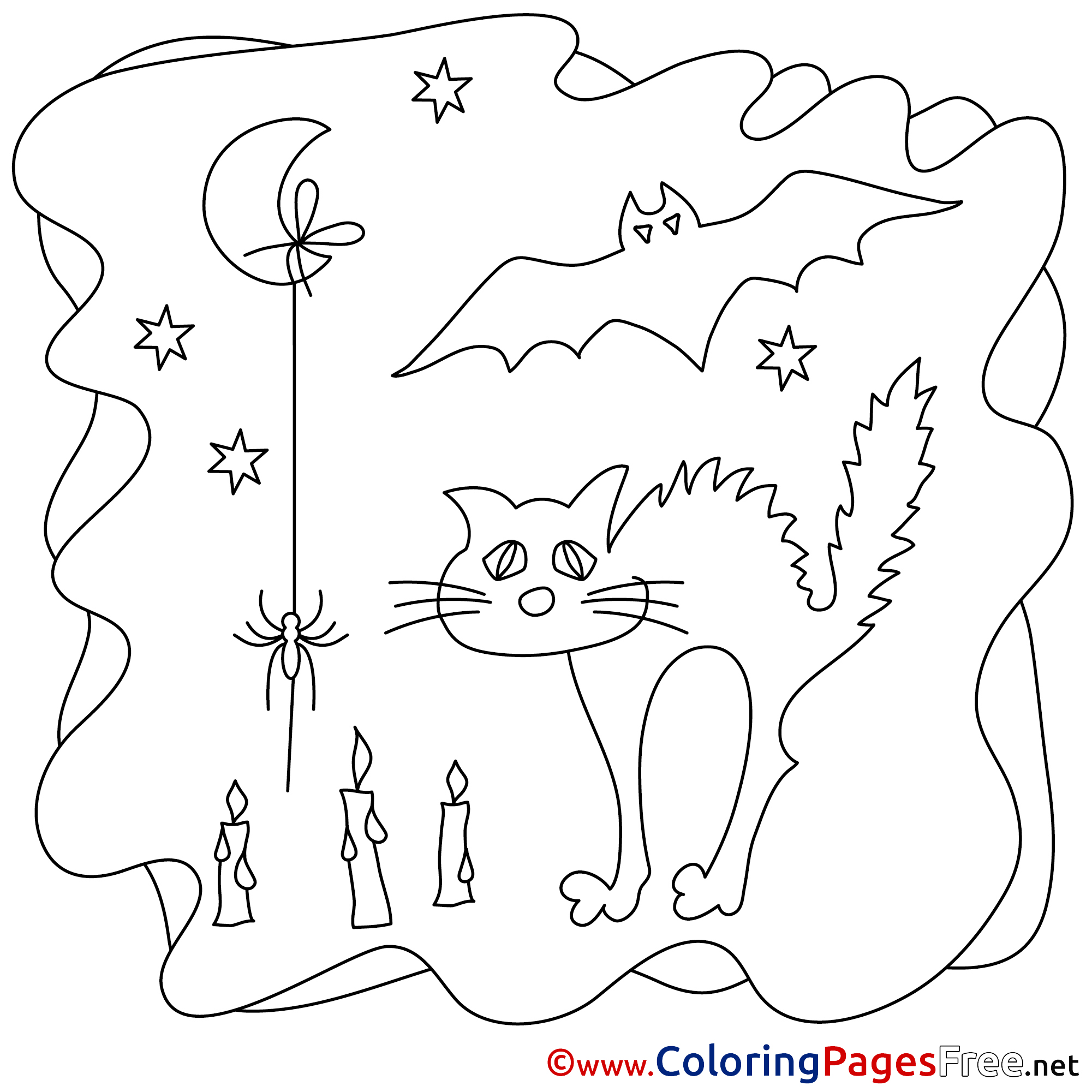 Moon Cat Printable Halloween Coloring Sheets