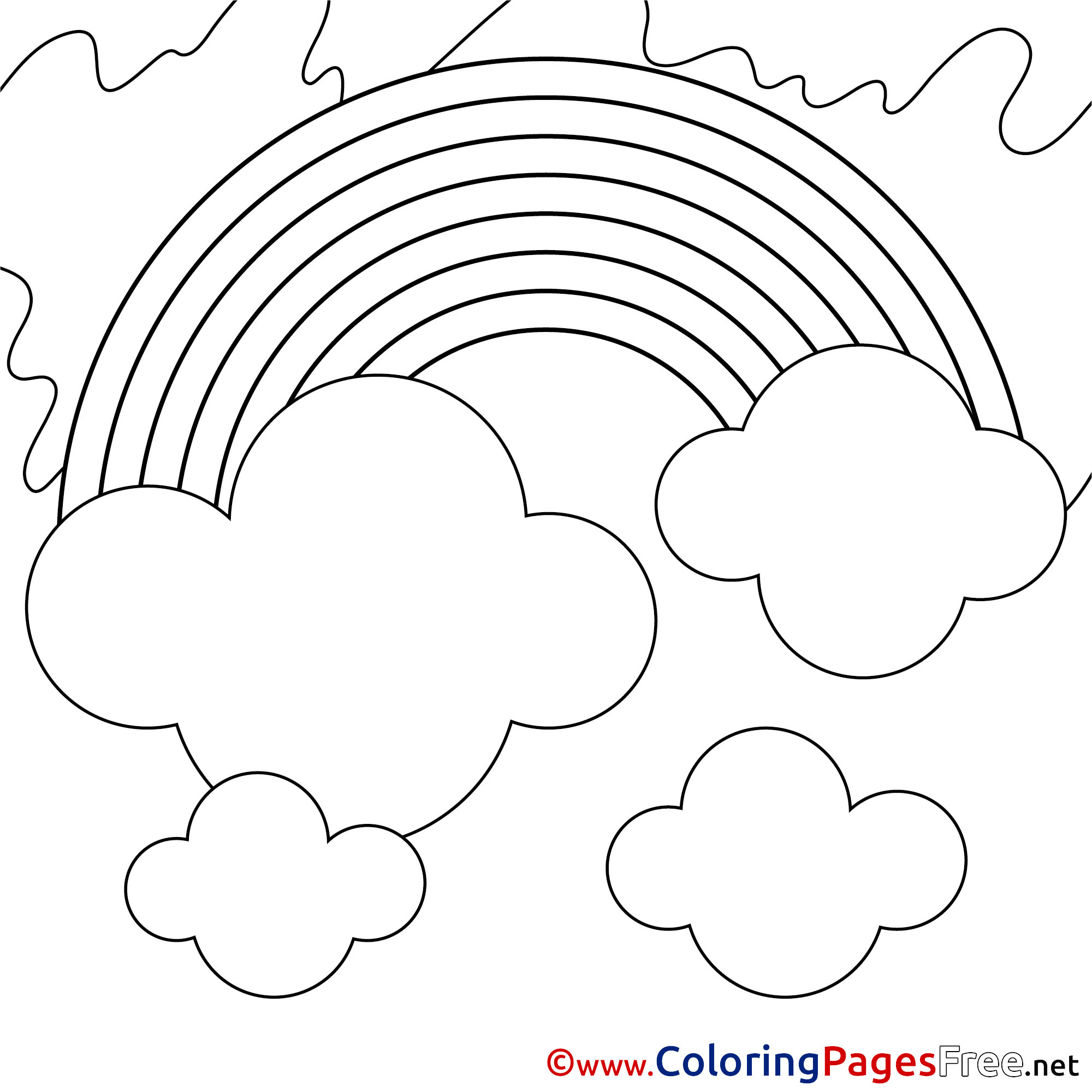 Rainbow Summer Colouring Sheet Free Clouds