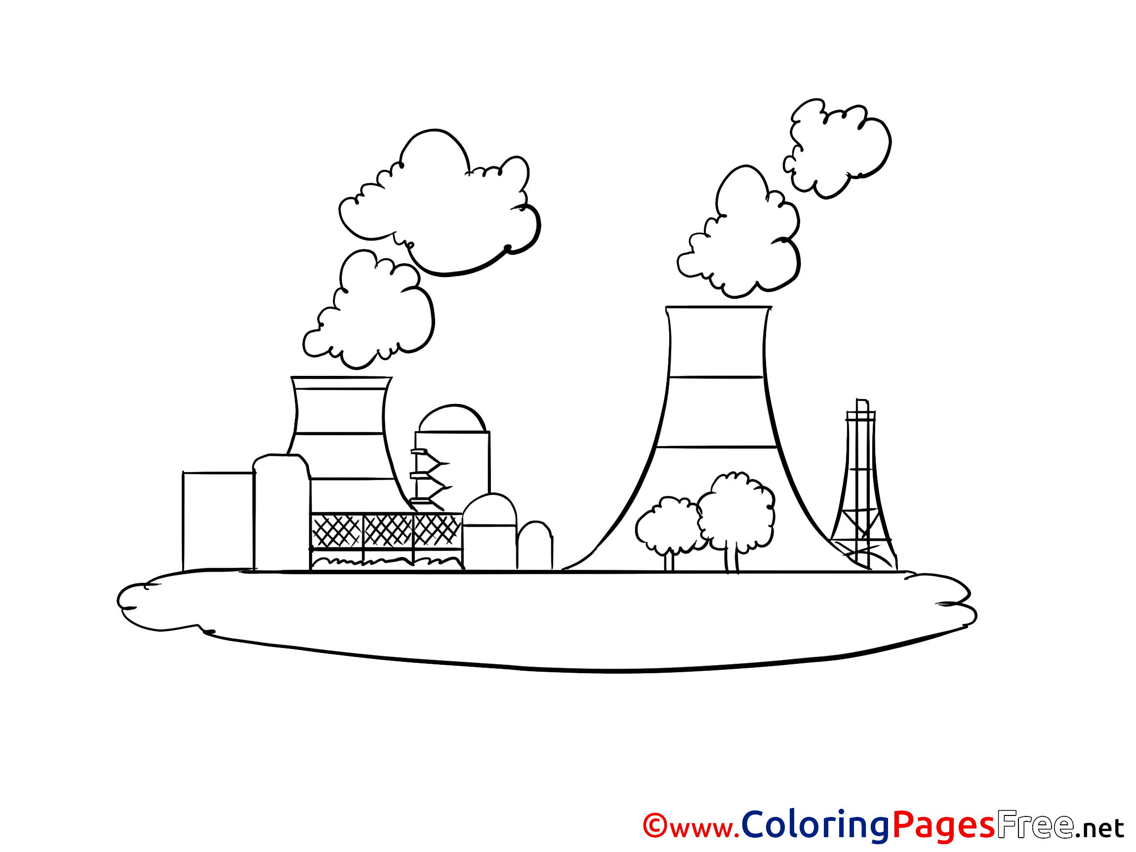 Nuclear Power Plant for Children free Coloring Pages