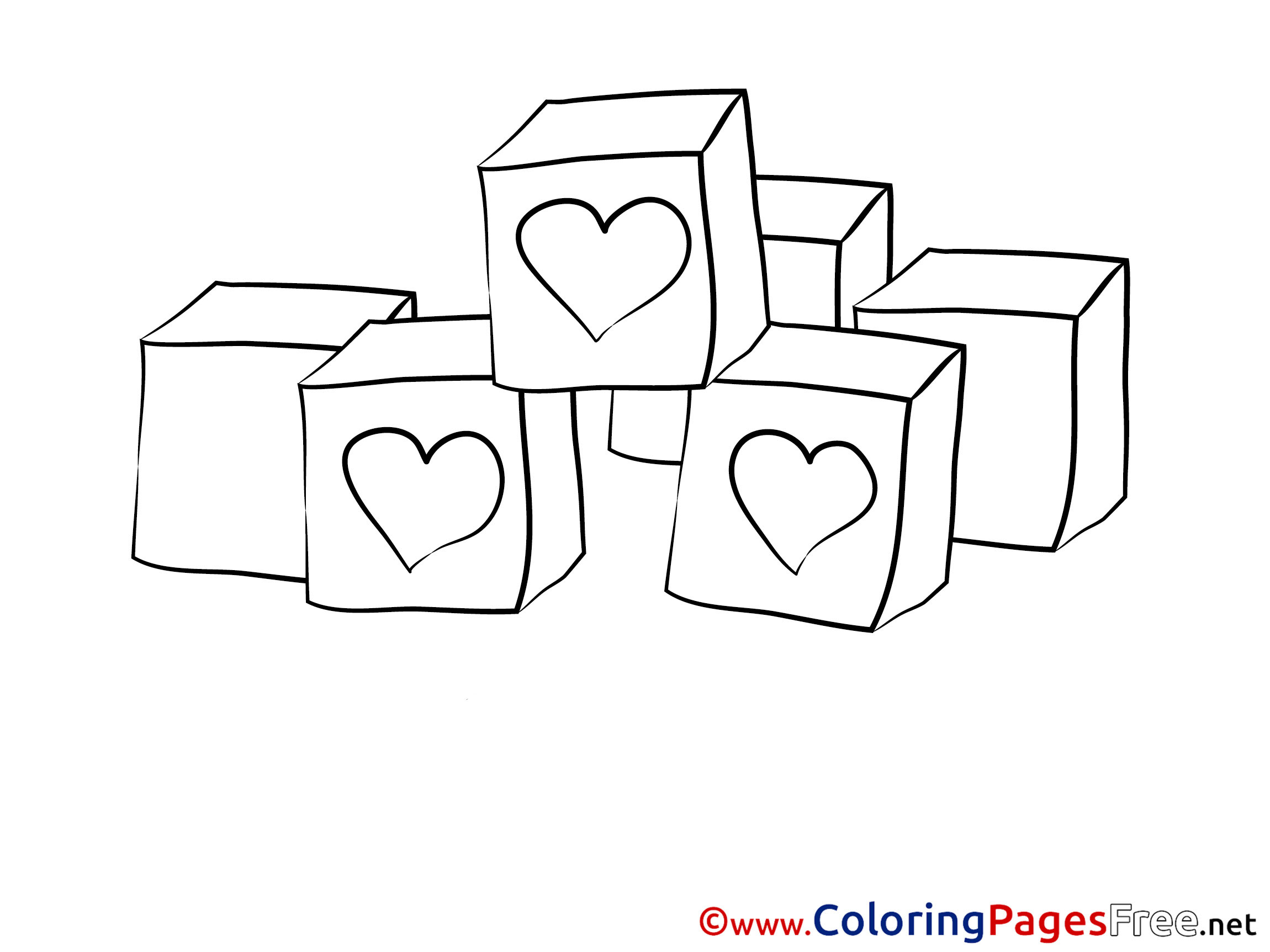 Cubes Valentine's Day Coloring Pages free