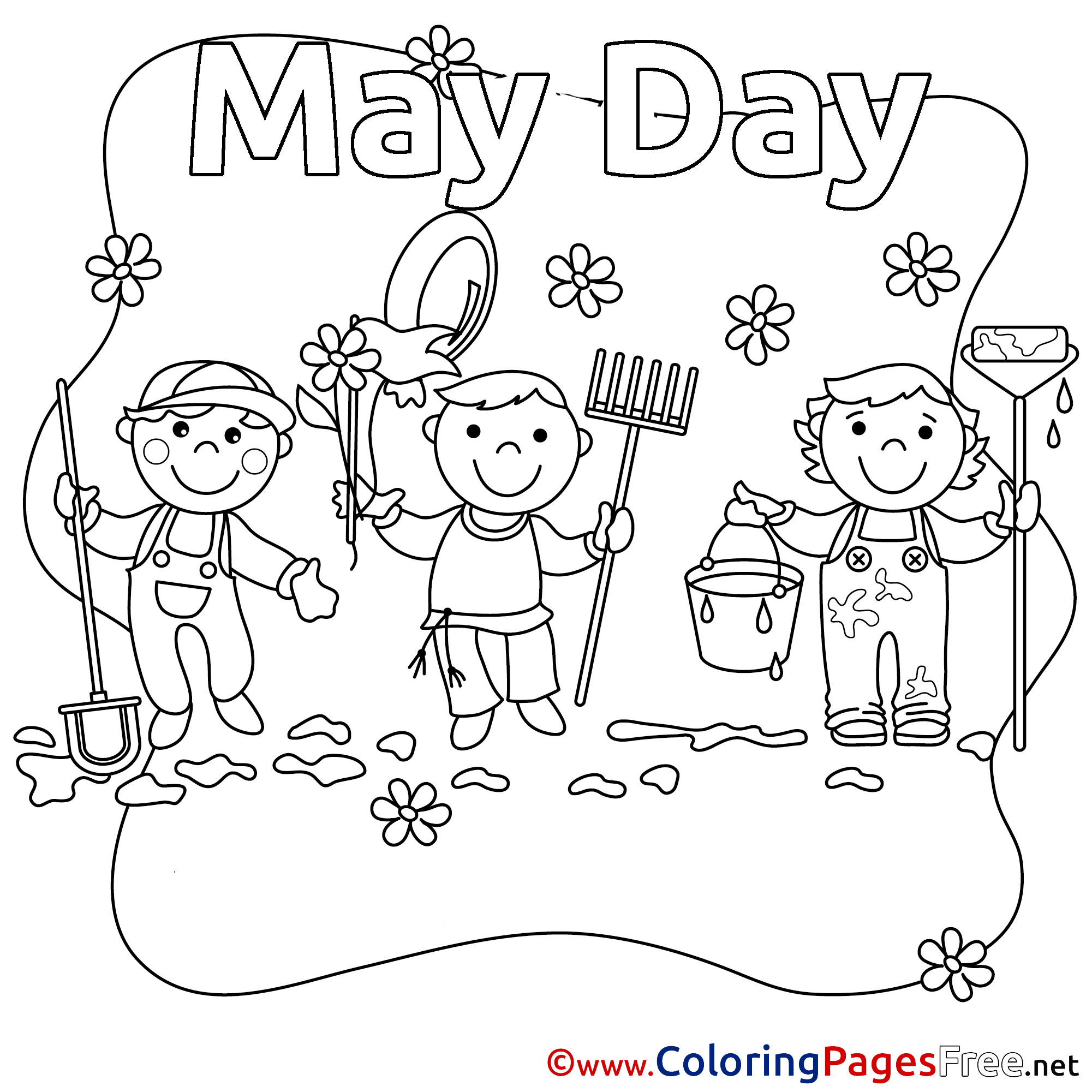 Printable May Day Baskets Basket Sketch Coloring Page