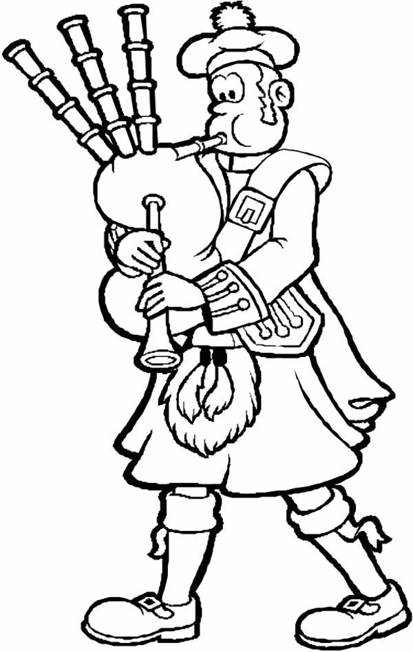 A Man in a Kilt Plays the Bagpipes Coloring Page