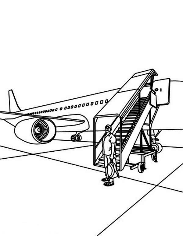 A Tourist Just Landed At Airport Coloring Page : Coloring Sky