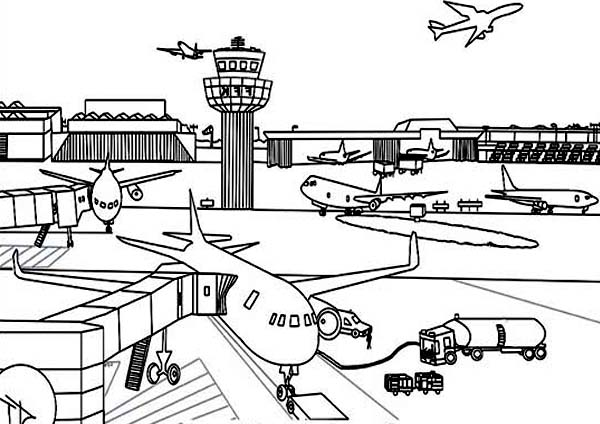 Airport Coloring Page For Kids : Coloring Sky