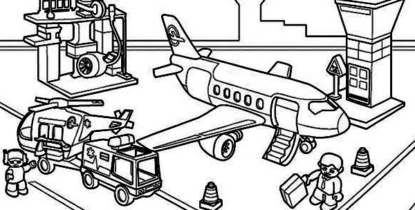 All Airport Activity in One Picture Coloring Page