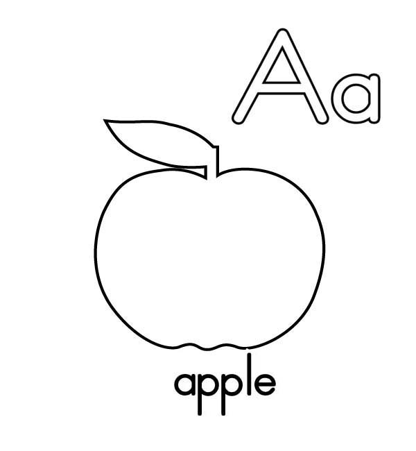 Alphabet A is for Apple on Learning ABC Coloring Page