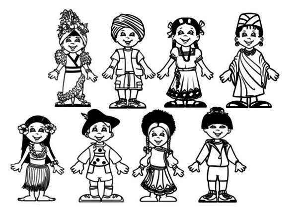Amazing Children Around The World Coloring Page : Coloring Sky