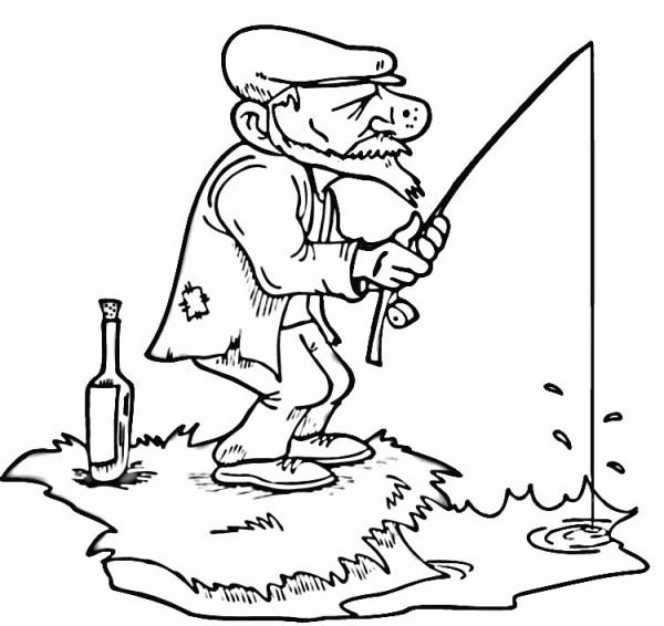 An Old Fisherman Fishing Coloring Page : Coloring Sky