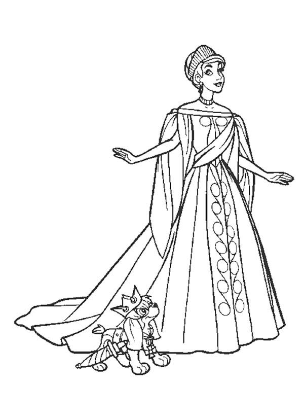 Anastasia and Pooka Wearing Beautiful Royal Dress Coloring