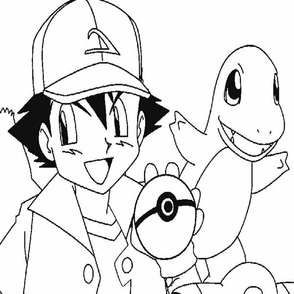 Ash Ketchum Got Charmander Pokemon on Pokemon Coloring