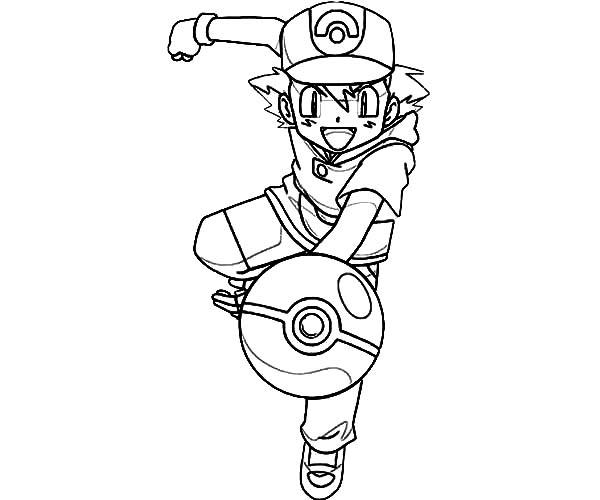 Ash Ketchum Throw Pokemon Ball on Pokemon Coloring Page
