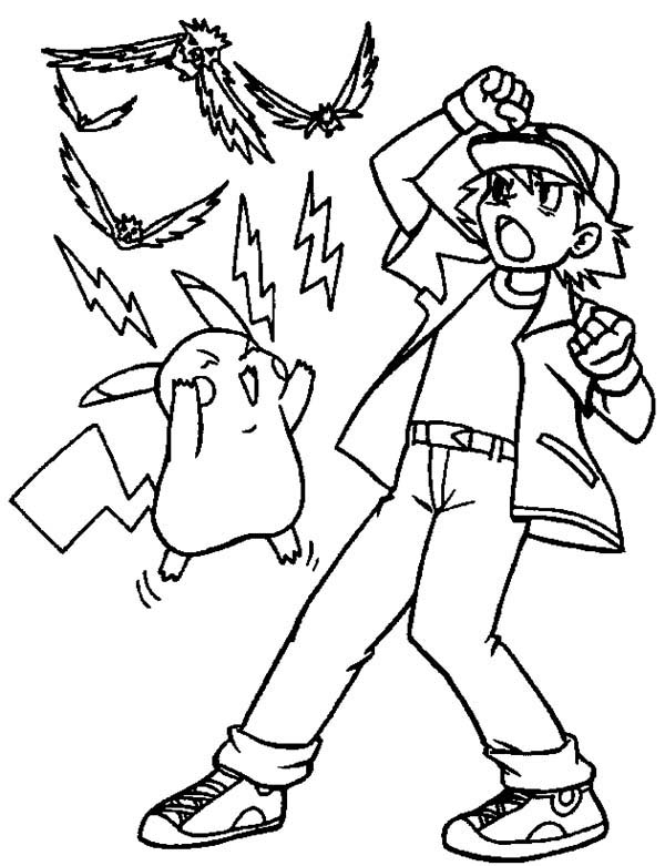 Ash Ketchum and Pikachu Attack with Electricity on Pokemon