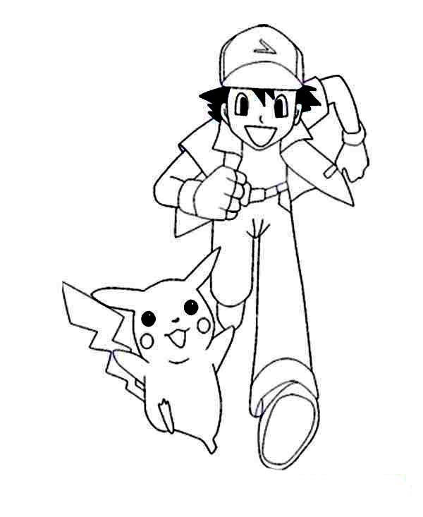 Ash Ketchum And Pikachu On Pokemon Coloring Page For Kids