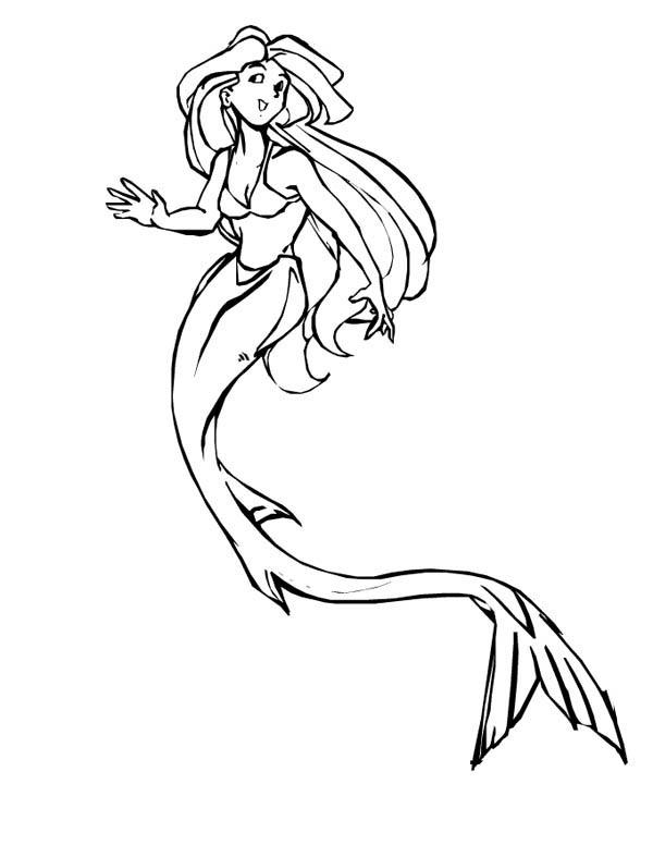 Beautiful Fantasy Mermaid Coloring Page : Coloring Sky