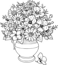 Beautiful Flower Vase Coloring Page | Coloring Sky