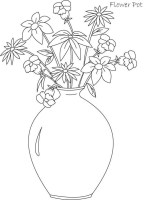 Big and Round Flower Vase Coloring Page   Coloring Sky