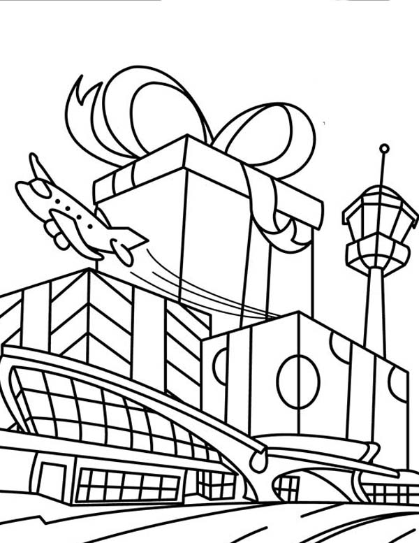 Busy Holiday At Airport Coloring Page : Coloring Sky
