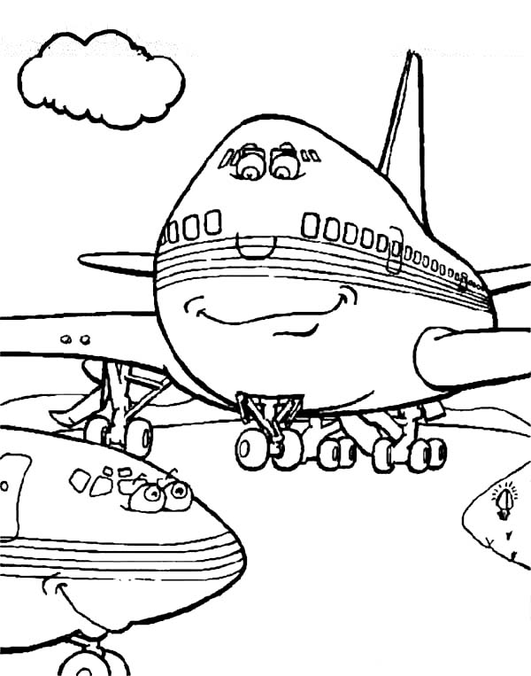 Cartoon Of Two Airplanes Chatting At The Airport Coloring