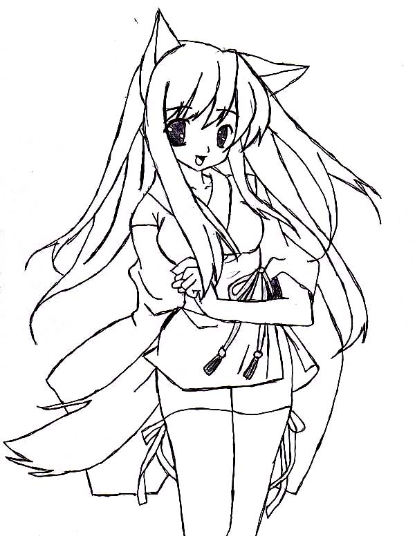 Cat Girl In Japanese Anime Coloring Page : Coloring Sky