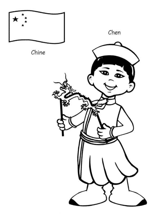 Chen Chinese Kid From Around The World Coloring Page