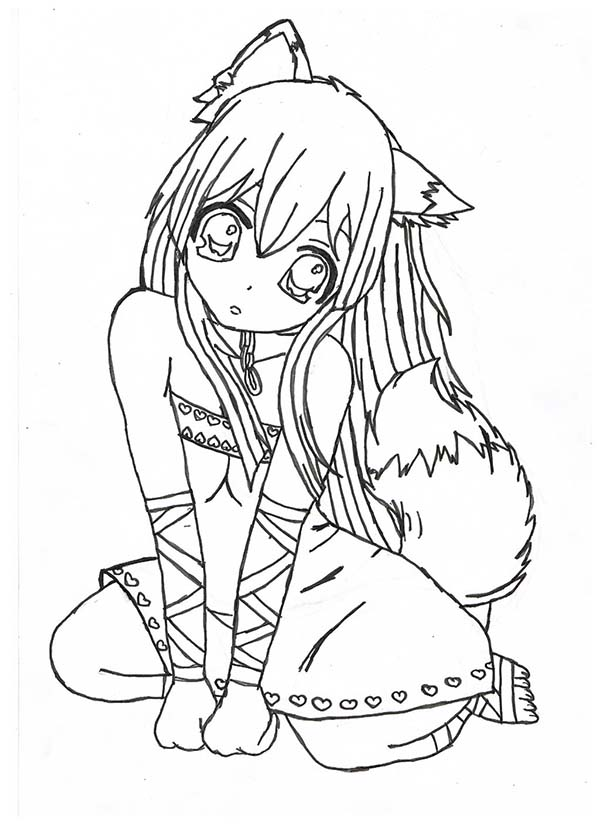 Chibi Fox Girl Anime Coloring Page : Coloring Sky