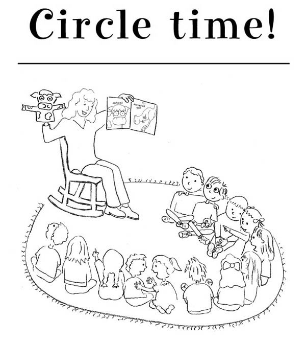 Circle Time For Kindergarten Kids Coloring Page : Coloring Sky