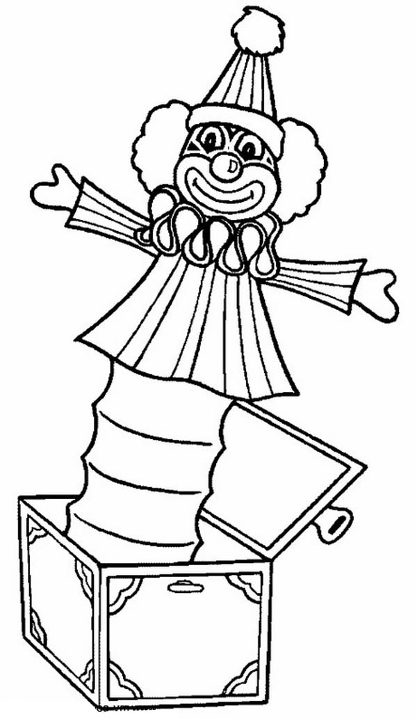 Clown Jack In The Box Coloring Page : Coloring Sky