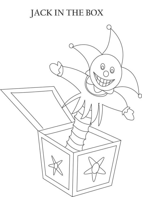 Creepy Jack In The Box Coloring Page : Coloring Sky