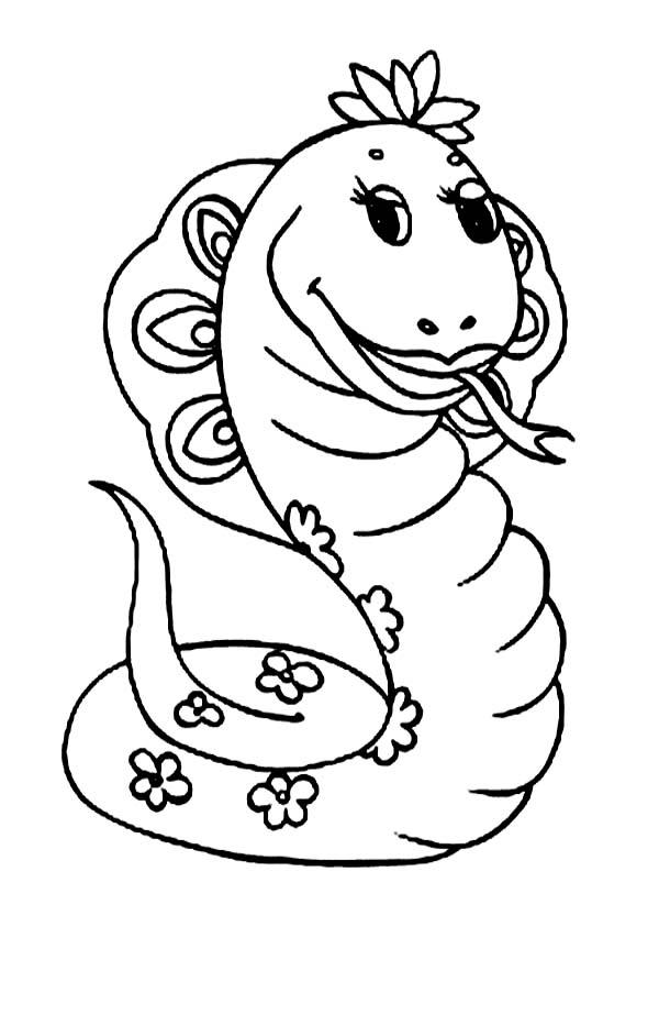 Cute Cartoonof Female Anaconda Coloring Page : Coloring Sky