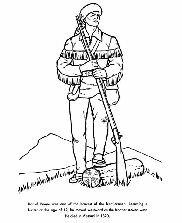 Daniel Boone The Hunter Coloring Page : Coloring Sky