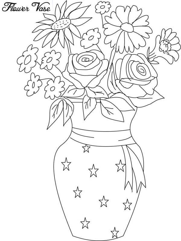 Drawing Flower Vase Coloring Page : Coloring Sky