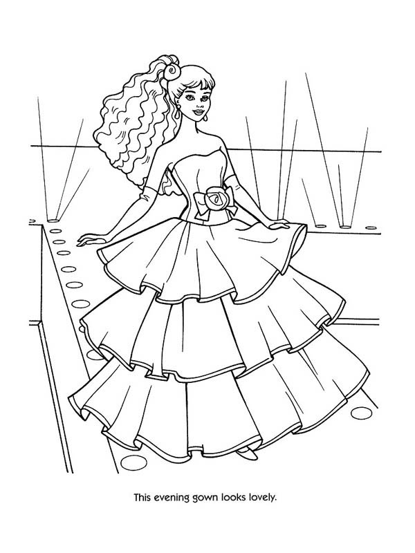 Evening Gown Fashion Model Coloring Page : Coloring Sky