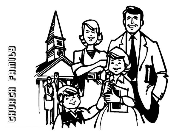 Family Going to Church Coloring Page: Family Going to